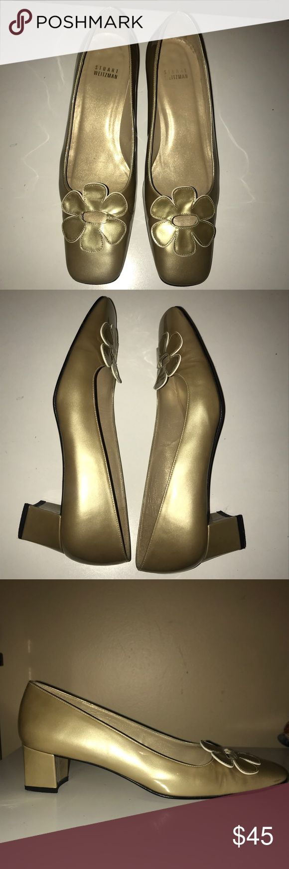 """💜STUART WEITZMAN💜Gold shimmer Patent Leather 💜STUART WEITZMAN💜Gold shimmer Patent Leather Square Toe Pumps/ Heels.  Size- 7.5M. Heel height- 1.5"""".   Original cost $395. Great pre-loved condition. PLEASE NOTE: Slight Knick in the back on one heel.. See last photo Stuart Weitzman Shoes Heels"""