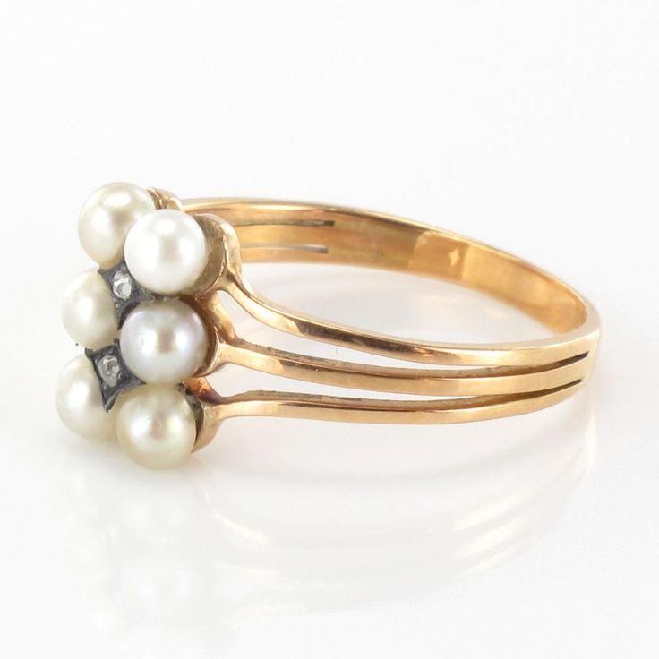 Bague ancienne Perles fines et Diamants. Bague ancienne de charme - travail français vers 1840.