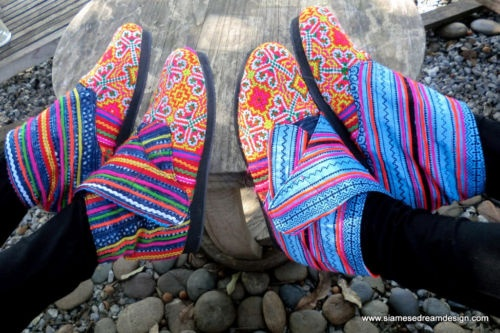 Hmong Batik Ankle Boots. Hmm, interesting. Can't wait to see more beautiful things like this back in Thailand. Not sure how I feel about seeing mass postings of them in places like Ebay.