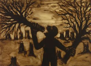 John Sokol (Canton, Ohio, 1947 - ) Man Eating Trees , 1989  Tar and varnish on canvas 72 in. x 96 in. Collection of the Akron Art Museum. Gift of the artist