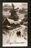 k2. Latvia Merry Christmas Happy New Year Greetings Old Photo postcard - Winter Mill People Village Landscape Night | For sale on Delcampe