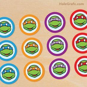 FREE Printable Retro Teenage Mutant Ninja Turtle Cupcake Toppers