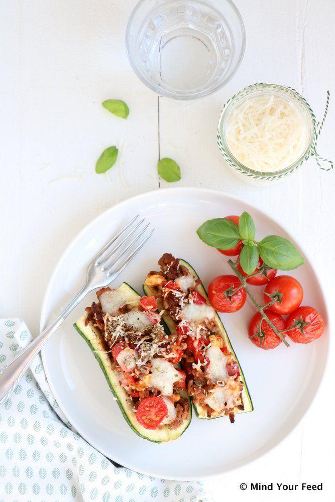 Gevulde courgette met gehakt, paprika en mozzarella - Mind Your Feed