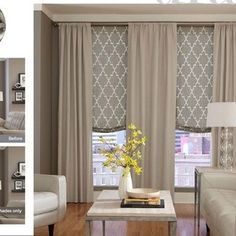 Relaxed Roman Shades with Custom Drapery.  A complete window dressing...very elegant!