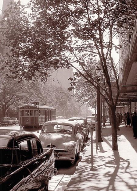 Swanston Street. Melbourne, Australia 1958.