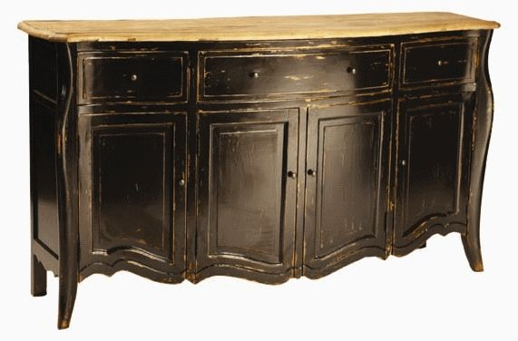 distressed blackDining Room, Painting Tips, Painting Furniture, Black Buffets, Refinishing Furniture, Distressed Black, Buffets Tables, French Provincial Furniture, Black Furniture
