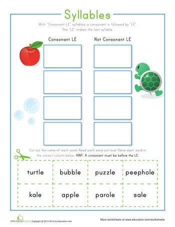 9 best consonant le images on pinterest syllable word games and word problems. Black Bedroom Furniture Sets. Home Design Ideas