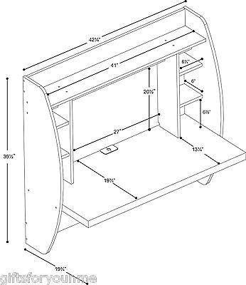 Prepac wehw-0200-1 Branco Mesa Flutuante Com armazenamento
