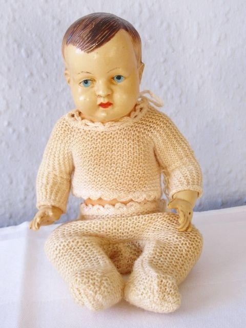 ANTIK Babypüppchen Puppe F.W.C Zelluloid bemalt Antikspielzeug um 1910 ca.21cm