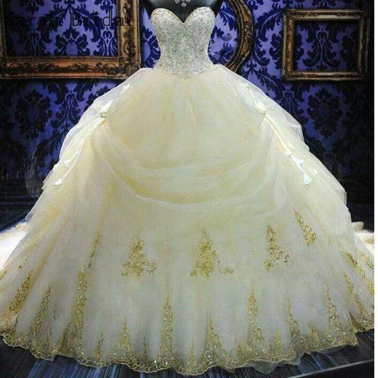 Luxury Princess Ball Gown Dubai Wedding Dresses Gold Embroidery Crystal Bridal Gown Luxo Cristal vestidos de casamento(China (Mainland))