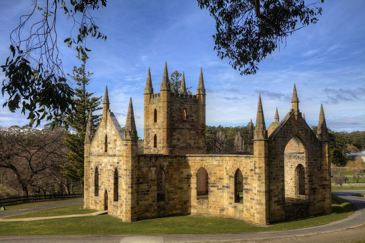 The old church at the Port Arthur penal colony, Tasmania, Australia.