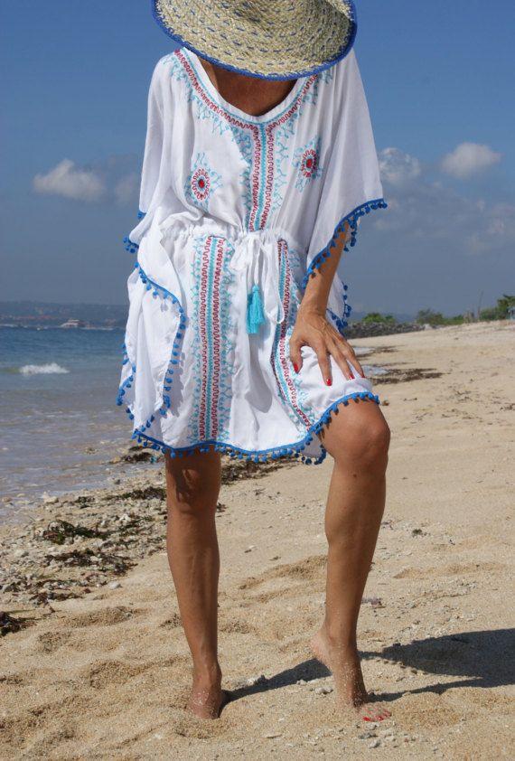 Pompom Dress/Beach dress/Embroidery Pompom dress/Poncho tassels/Boho pompom Poncho * CARMEN POMPOM DRESS