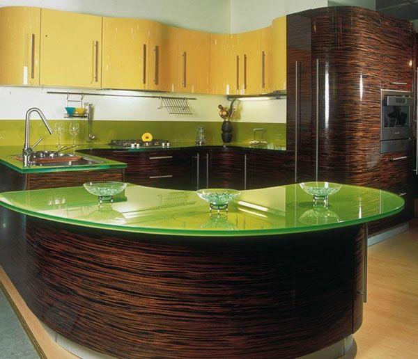 Küche Arbeitsplatten kücheninsel grün glänzend idee