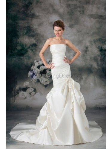 Satin Strapless Chapel Train Sheath Hand-made Flower Wedding Dress