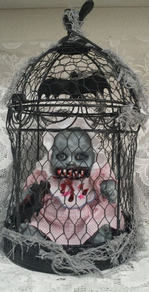 Zombie Baby Caged Eating Bat Haunted House Horror Prop in Collectibles | eBay