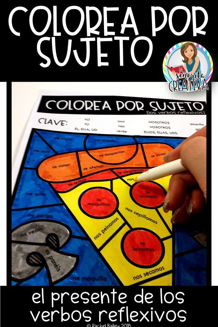 Color By Verb Los Verbos Reflexivos Spanish Reflexive Verbs Coloring Activity Reflexive Verbs Color Activities Spanish Verbs [ 1104 x 736 Pixel ]