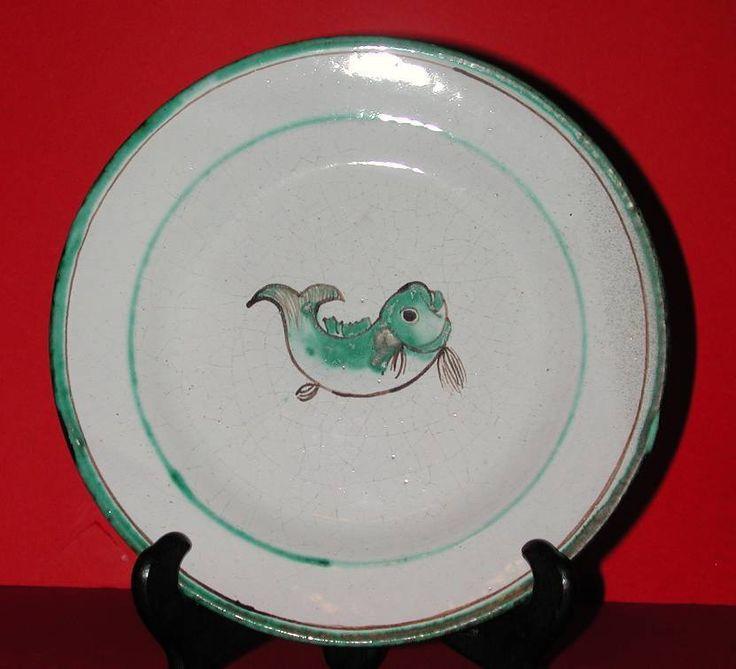 Stuedemann Vietri MAJOLICA Turchese piatti dipinti a mano firmati ST marca di pesce | eBay