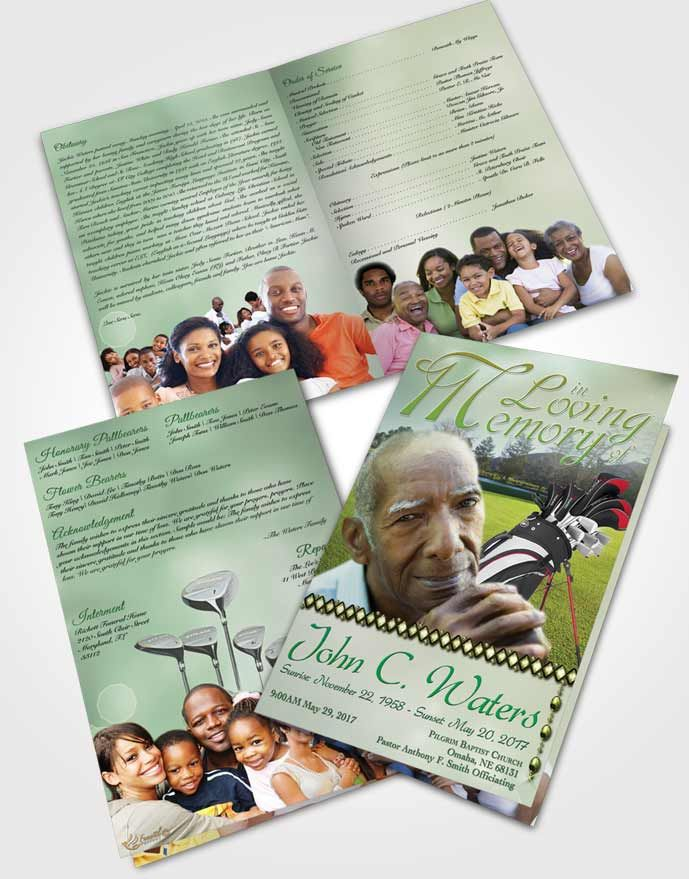 Bifold Order of Service Obituary Template Brochure Golfing Day