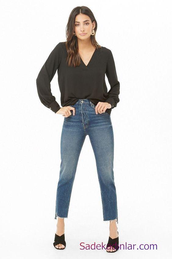Siyah Gomlek Kombinleri Bayan Mavi Kot Pantolon Siyah Uzun Kol V Yaka Gomlek Siyah Topuklu Terlik V Yaka Moda Stilleri Pantolon