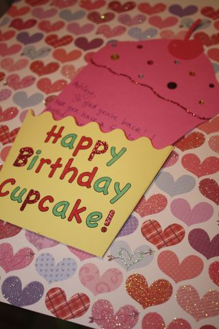 Cupcake Birthday Card - cute!  Make bday cards at very beginning so they're ready when it's the residents birthday