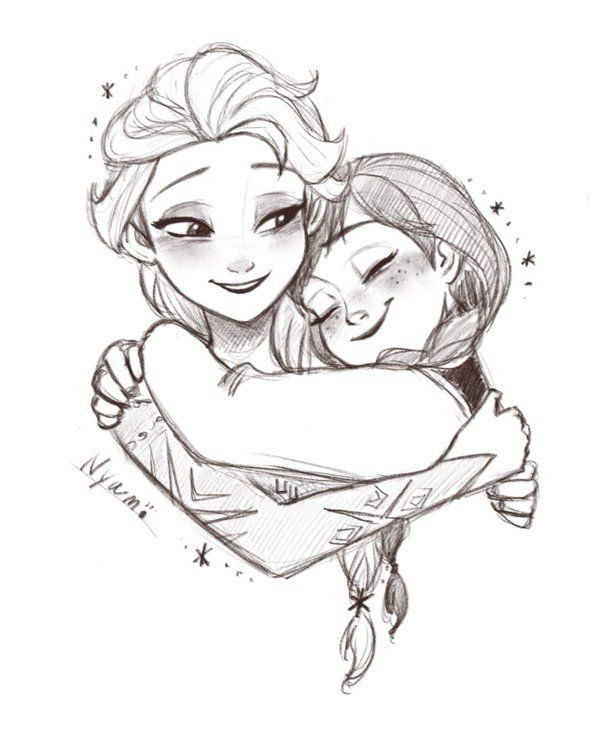 Fantastic Drawing of Elsa and Anna - Frozen ❄️