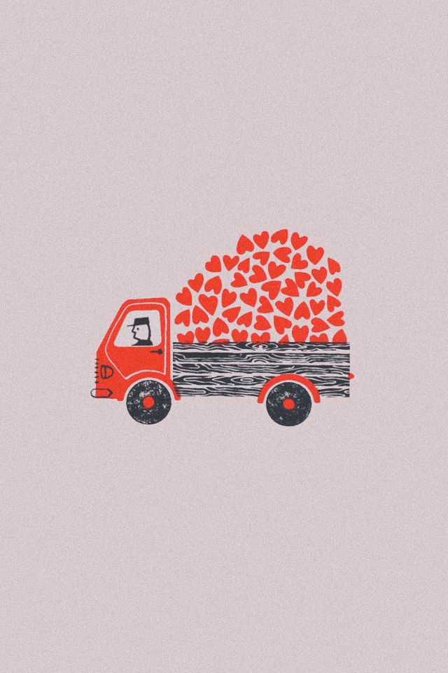 Truck of hearts ♥ Loved by www.miekinvorm.nl || illustration, handlettering + design