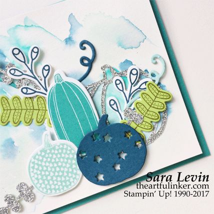Sara Levin | theartfulinker.com Click the picture to see more of Sara's Designs. Pick a Pumpkin in blue card.  Blue pumpkins, die cut pumpkins.  Patterned pumpkins. Watercolor background. Handmade cards, rubberstamps, cardmaking, stampinup, stamping, saralevin, theartfulinker