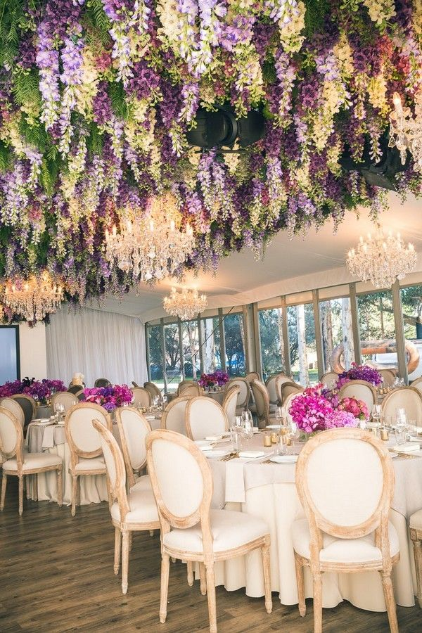 Trending 12 Fairytale Wedding Flower Ceiling Ideas For Your Big