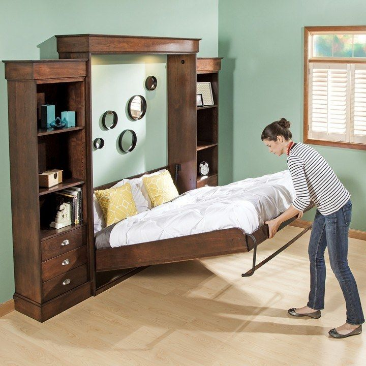 Vertical Mount Deluxe Murphy Bed Hardware - this page has a free full bed plan and a free queen bed plan. I love the bookshelves.