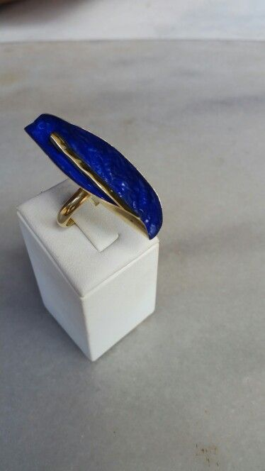 Handmade bronze ring with blue  enamel  .Ask me more  on Despina Kornelaki Facebook account