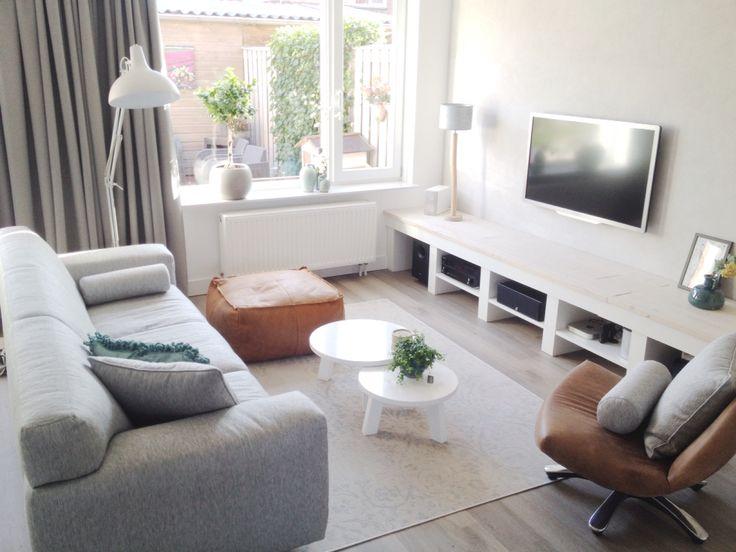 woonkamer, grijs, cognac en beige. | home sweet home | pinterest, Deco ideeën