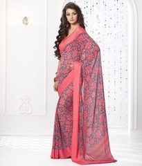 Pink & Grey Color Georgette Daily Wear Sarees : Ahanvi Collection YF-30143