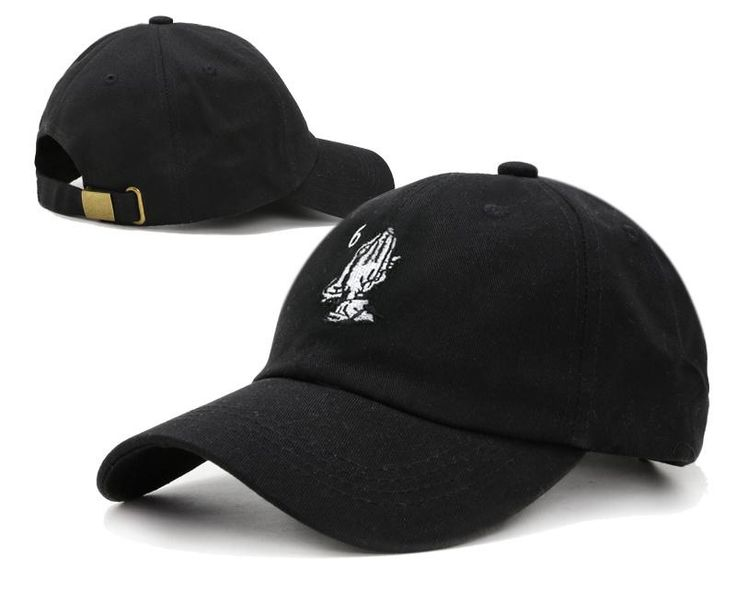 Mens Palace Brand 6 God Pray Hands Embroidery Novelty Fashion Strap Back Adjustable Cap - Black