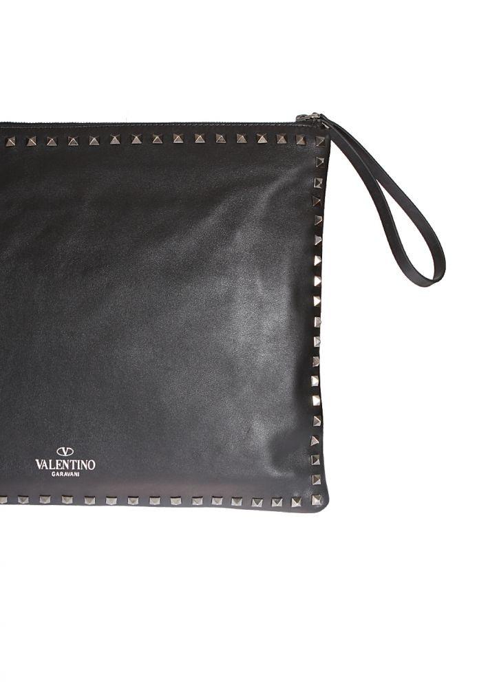 valentino noir leather rockstud pumps