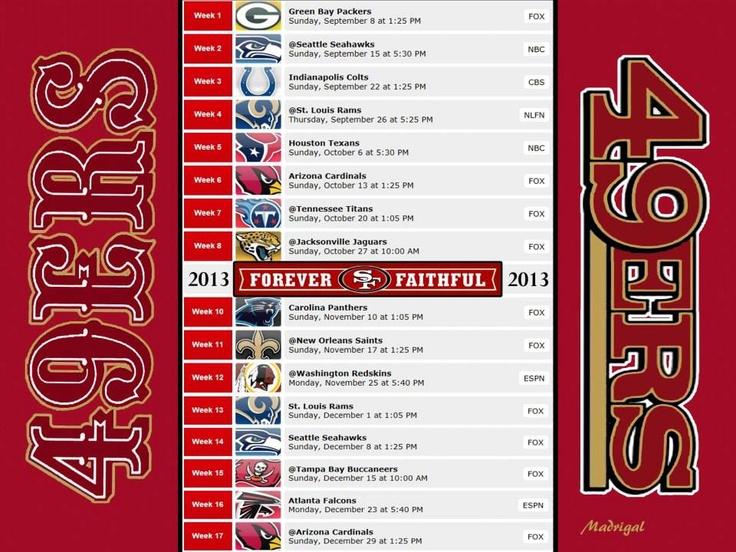 49ers 2013 season schedule 49ers pinterest san - 2015 49ers schedule wallpaper ...