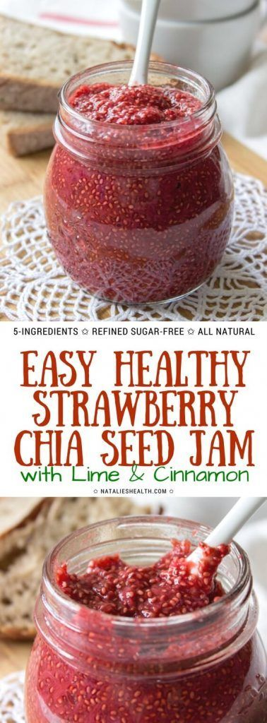 Strawberry Chia Seed Jam is delightful fruit spread packed with fresh strawberry flavor and many nutrients. It's made with WHOLE FOOD ingredients, refined sugar-free and so easy to make. Enriched with lime and cinnamon, it's indeed a delicious way to have healthy breakfast every day. #breakfast #breakfastrecipes #chia #healthy #healthyrecipes #summer #spring #recipe #veganrecipes #weightlossrecipes #healthylifestyle #healthyeating