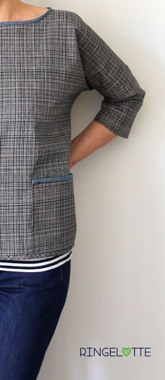 FRAU AIKO von schnittreif - Tasche und Halsausschnitt mit Jeanspaspel