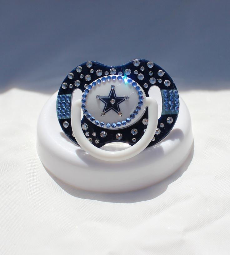 Dallas Cowboys  Baby Bling Pacifier w/Swarovski Crystals. $30.00, via Etsy.