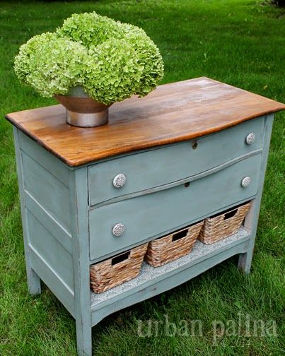 Annie Sloan duck egg chalk paint plus baskets where the drawer broke