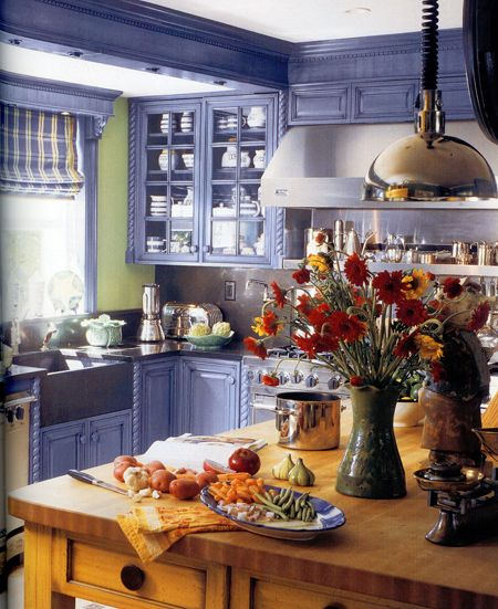 Painted Cabinets in Lavender with Mint Walls and a Maple Island -- just a look, not a wish for me personally, though it is lovely