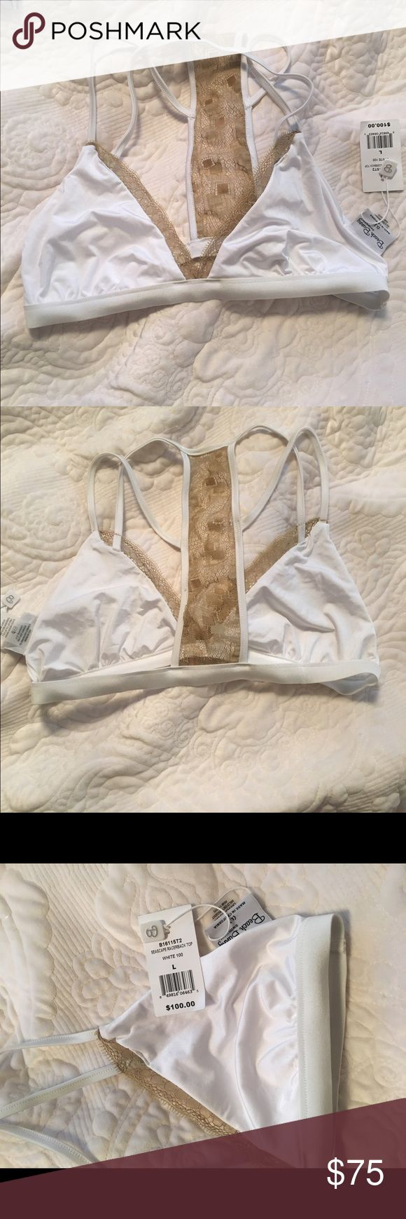 Beach bunny seascape racerback top white NWT Beach bunny seascape racerback top white and tan lace  perfect condition-never worn Beach Bunny Swim Bikinis