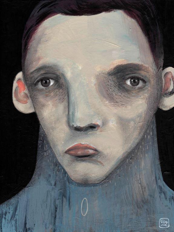 El hombre que espera  Ilustración por Bran Sólo Retrato masculino