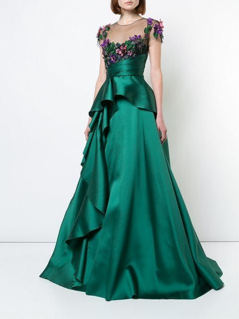 a19189ddfc9e Marchesa Notte floral-appliquéd peplum gown $777 - Buy Online AW18 - Quick  Shipping, Price
