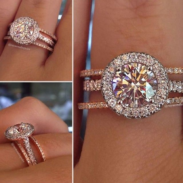 round halo engagement ring with thin rose gold wedding bands - Girl Wedding Rings
