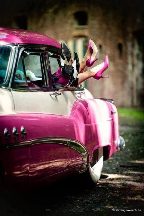Cool Vintage PINK Car.... PINK Shoes.... and PINK socks too.... LOVE....-Ang
