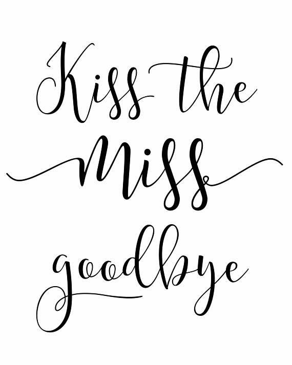 Printable Kiss The Miss Goodbye Bridal Shower Printable Bridal