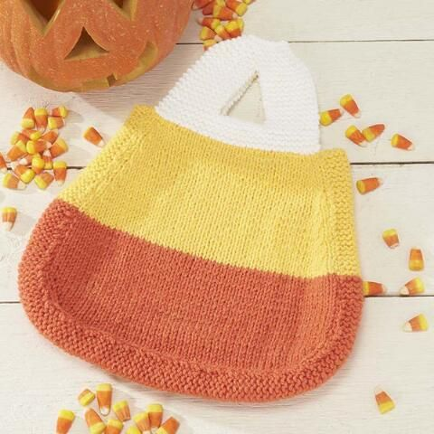 candy corn treat bag free downloadable knit pattern herrschners halloween - Free Halloween Knitting Patterns
