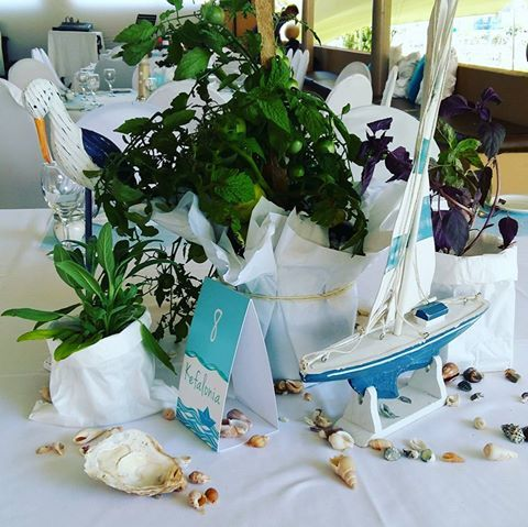 Centerpiece at the nautical themed christening with boats, birds, shells and beautiful tomato plants.