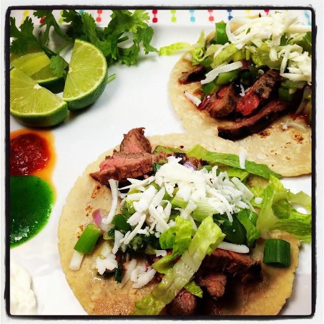 Tacos Carne Asada with Tomatillo Pico de Gallo and Queso Blanco | Yum ...