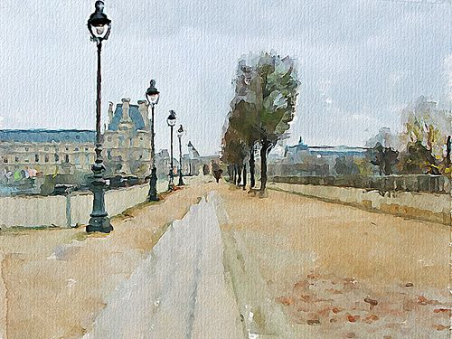 Avenue du Général Lemonnier, Paris | Digital watercolor | Vitaly Shchukin | Flickr